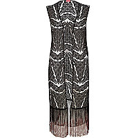 Black lace tassel trim cover-up