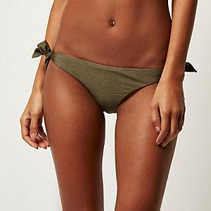 Khaki side tie bikini bottoms
