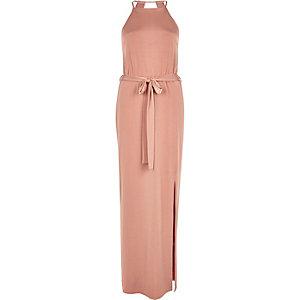 Pink slinky cami maxi dress