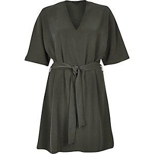 Khaki green kimono belted dress