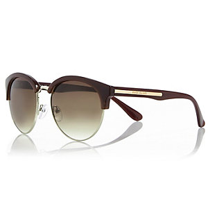 Dark purple clubmaster-style sunglasses