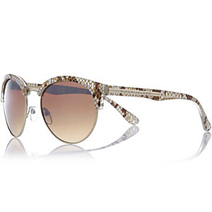 Beige snake print clubmaster-style sunglasses