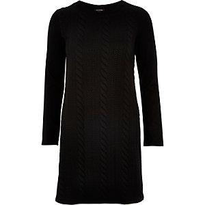 Black textured jersey swing dress