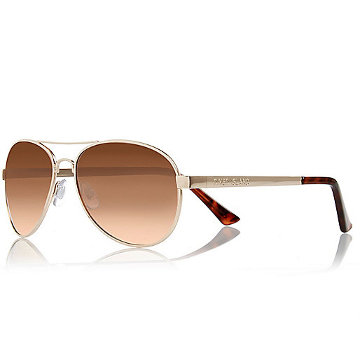Gold aviator-style sunglasses