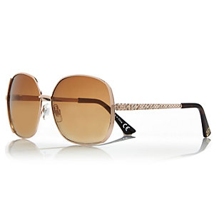 Gold square rhinestone detail sunglasses