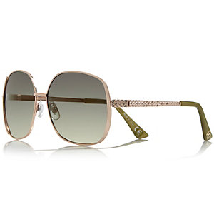 Khaki square rhinestone detail sunglasses