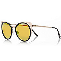 Gold tone metal cat eye mirror sunglasses