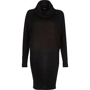 Black knitted cowl neck dress