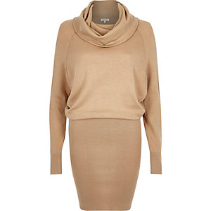 Camel knitted cowl neck dress