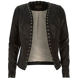 Black leather-look whipstitch jacket