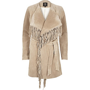 Beige suede fringed jacket