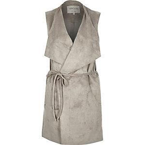 Light grey faux suede sleeveless jacket