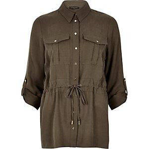 Khaki utliity shirt jacket