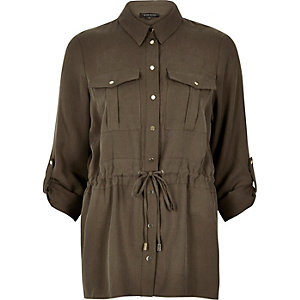 Khaki utlity shirt jacket