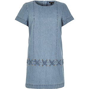 Light blue woven rope shift dress