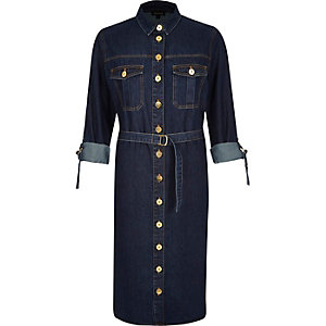 Dark wash midi denim shirt dress