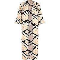 Pink geometric print longline jacket