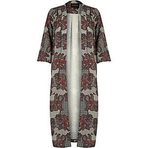 Cream paisley print longline jacket