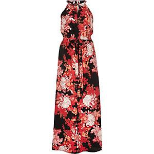 Red floral print halterneck maxi dress