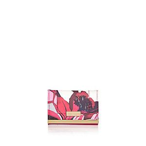 Red floral print card holder