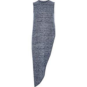 Navy knit sleeveless asymmetric top