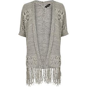 Grey knit crochet tassel cardigan