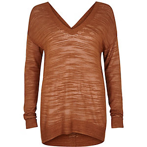 Rust brown slouchy knitted V-neck sweater