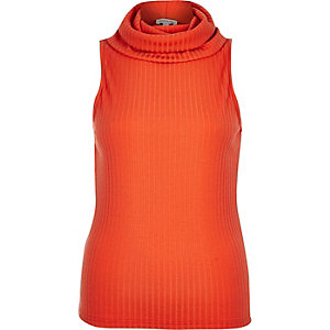 Orange ribbed cowl neck top