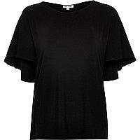 Black short sleeve cape back t-shirt