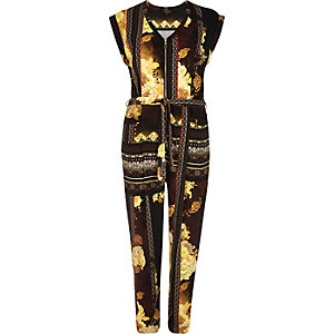 Brown printed zip-up jumpsuit