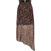 Brown leopard print asymmetric shirt