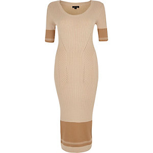 Brown knitted bodycon midi dress