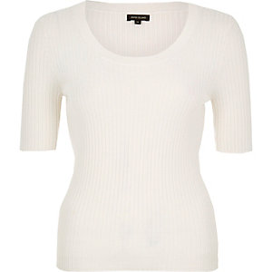Cream knitted ribbed scoop neck top