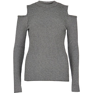 Grey knitted cold shoulder sweater
