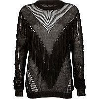 Black fringed front knitted sweater