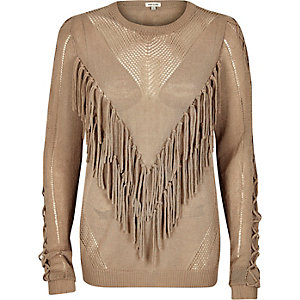 Light brown fringed front knitted sweater