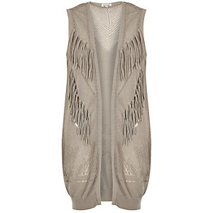 Grey knitted fringed sleeveless jacket