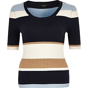 Navy stripe knitted ribbed scoop neck top