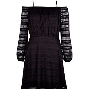 Black lace waisted bardot dress