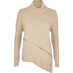 Beige slouchy zip trim knitted sweater