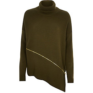 Dark green ribbed zip roll neck sweater