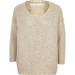 Light beige knitted ladder-back sweater