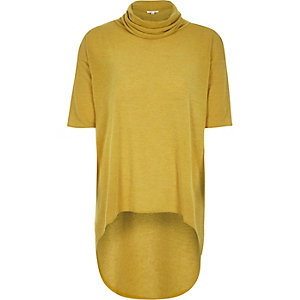Yellow high low hem cowl neck top