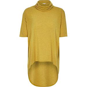 Yellow high low hem cowl neck top