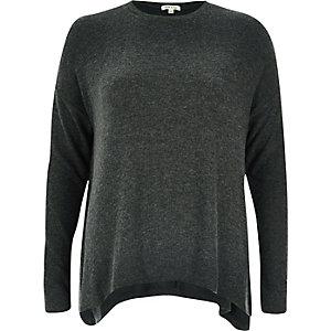 Dark grey super-soft hanky hem top