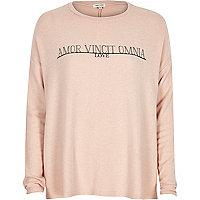 Pink slogan print swing top