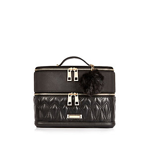 Black quilted vanity case