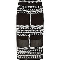 Black cornelli trim lace pencil skirt
