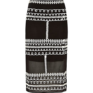 Black cornelli trim lace pencil skirt