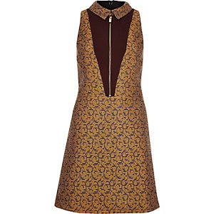 Yellow jacquard A-line dress